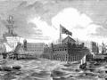 Кронштадт, вид с воды. Форт и парусные суда на фоне крепости.