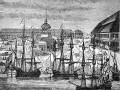 С.-Петербург. В центре – первоначальный Свято-Троицкий собор Петровского времени. С гравюры начала XVIII в.