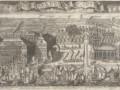 Триумфальный ввод шведских судов в Петербург 9(20) сентября 1714 года после победы при Гангуте.  Гравюра А.Ф. Зубова, 1714 год