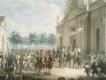 Екатерина II на ступенях Казанского собора, приветствуемая духовенством в день воцарения 28 июня 1762 года