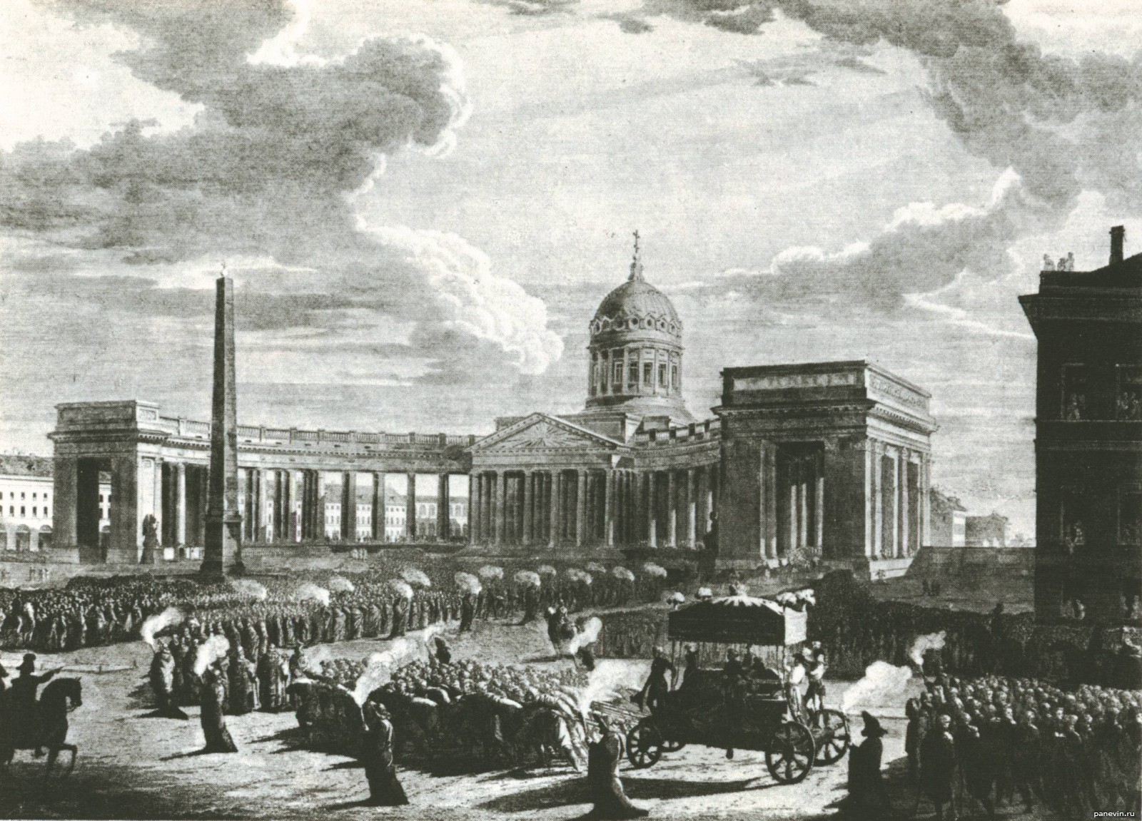«Похороны М. И. Кутузова», гравюра М. Н. Воробьёва, 1814 г.