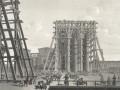 Установка первых гранитных колонн Исаакиевского собора, литография 1820-х годов