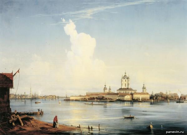 Вид на Смольный монастырь с Большой Охты. 1851 год