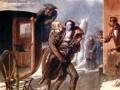 Раненого Пушкина выносят из кареты.