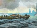 Испытание «электрохода-шлюпки» с двигателем конструкции Б. С. Якоби, акватория Невы. 1838 год.