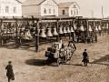 Ряды колоколов одной из колокольных мастерских. Фото XIX века.