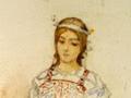 Снегурочка. Эскиз В. М. Васнецова к опере Римского-Корсакова, 1882 (Васнецов, кстати, первый изобразил Снегурочку с обручем на голове)