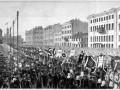 Траурная процессия на улицах Петербурга. Похороны Тургенева, с гравюры, опубликованной в журнале «Всемирная иллюстрация»
