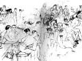 Осип Мандельштам читает стихи в кабаре «Привал комедиантов». Среди зрителей К. Д. Бальмонт, А. А. Ахматова, Г. В. Иванов.  Рисунок С. Полякова, 1916 год