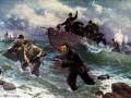 Бойцы Ладожской флотилии высаживаются десантом на берег, занятый противником