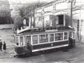 Реплика трамвая Бреш в воротах трампарка на Васильевском острове, 1960-е годы