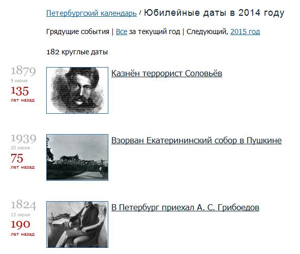 Юбилейные даты в Петербурге