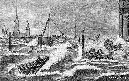 Наводнение 1824 года в Санкт-Петербурге, рисунок