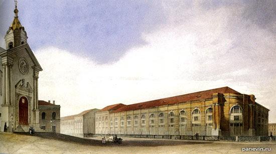 Новая Голландия и часть Благовещенской церкви при лейб-гвардии Конном полку. Вторая половина XIX века